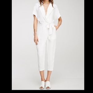 NWOT Forever 21 Collared White Jumpsuit